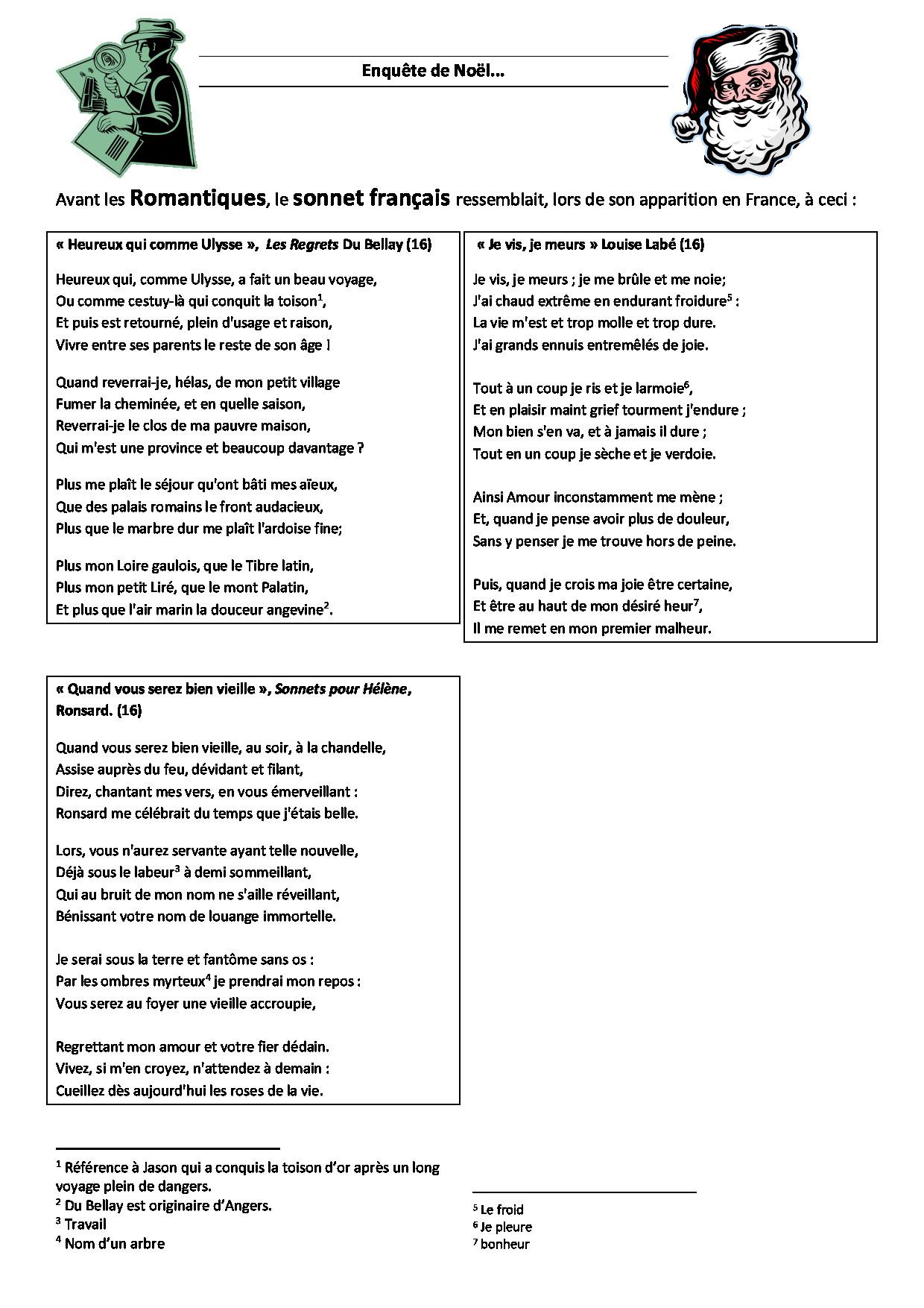 Enquête sonnet 1