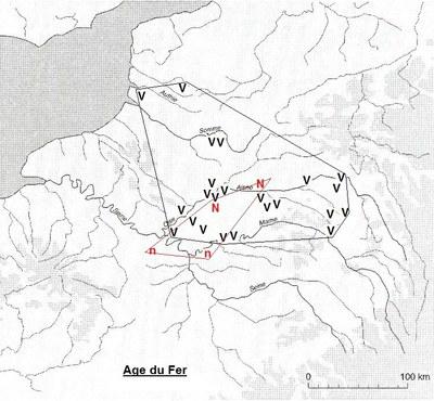 répartition des blés nus et vêtus dans la RP et le Nord à l'âge du Fer