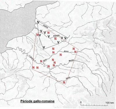 répartition des blés nus et vêtus dans la RP et le Nord à la période gallo-romaine