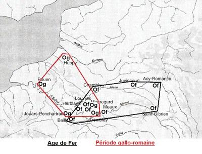 répartition de l'orge en RP et dans le Nord à l'âge du Fer et à l'époque gallo-romaine