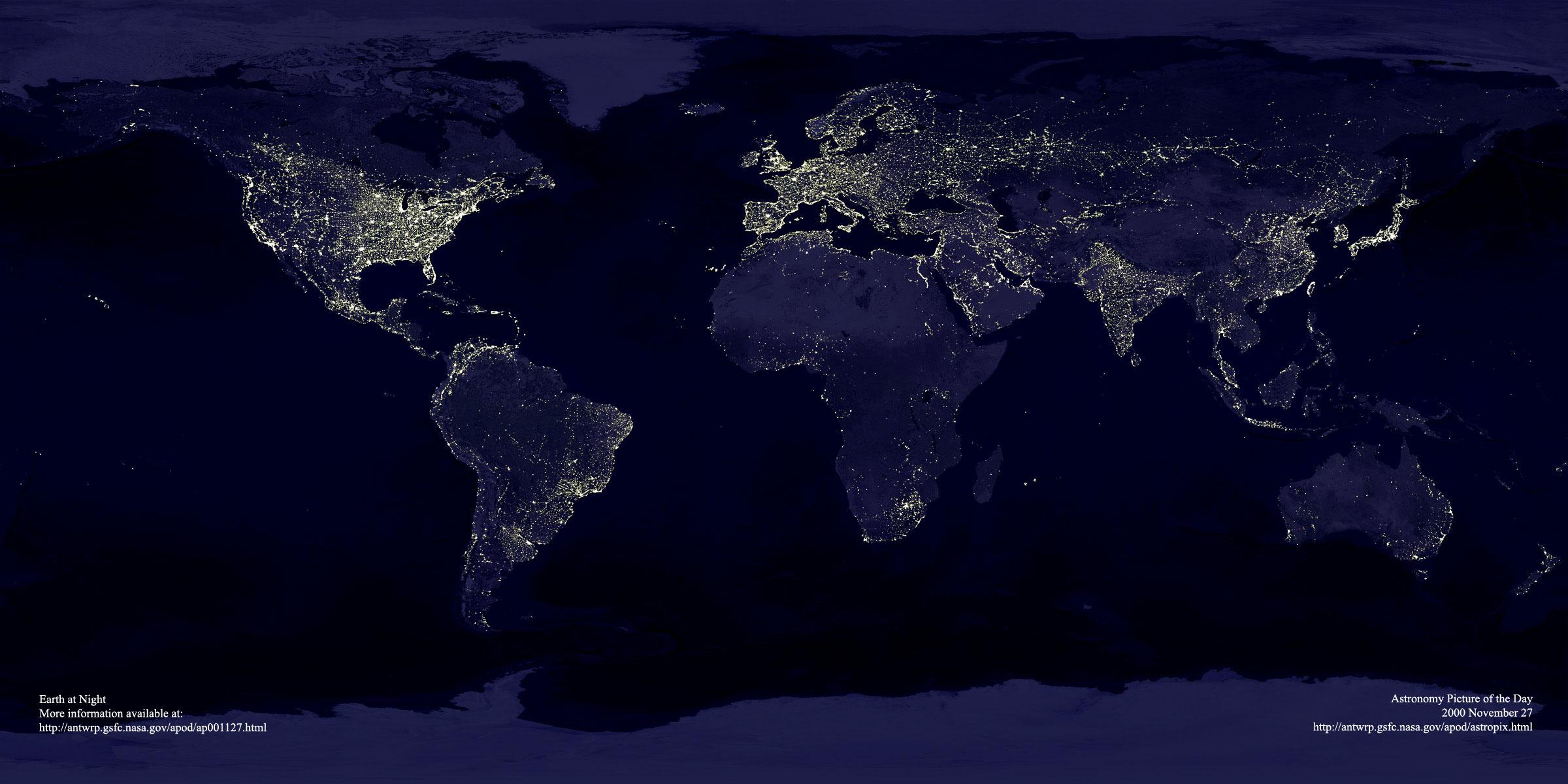 Les lumières de la Terre, NASA