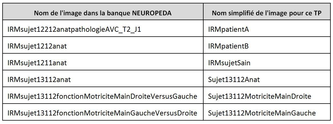 Tableau correspondance IRM renommées et IRM NeuroPeda